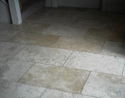 Cleaned, Polished, and Sealed Travertine Floor – After