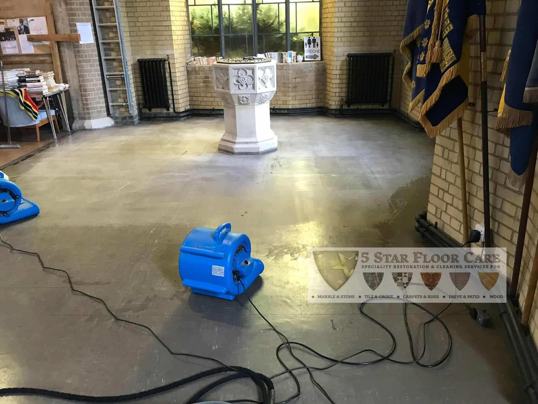 During church vinyl floor cleaning